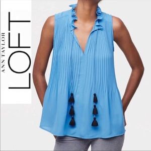 NWT/Loft pleated tie neck shell top